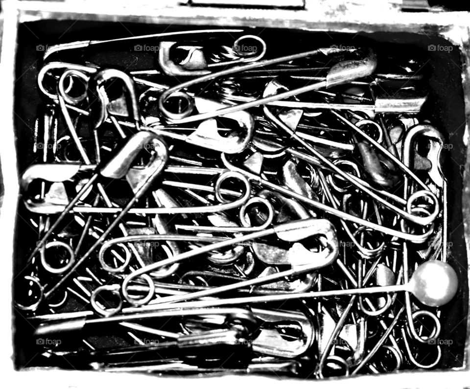 safety pins monochrome sewing collection