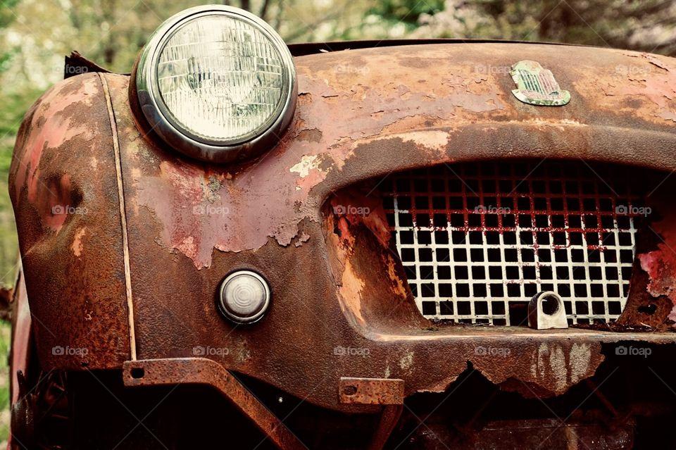 Vintage Car Front End, Triumph Car, Old Car Photograph, Trespass, Rusted Paint Peeling Vehicle