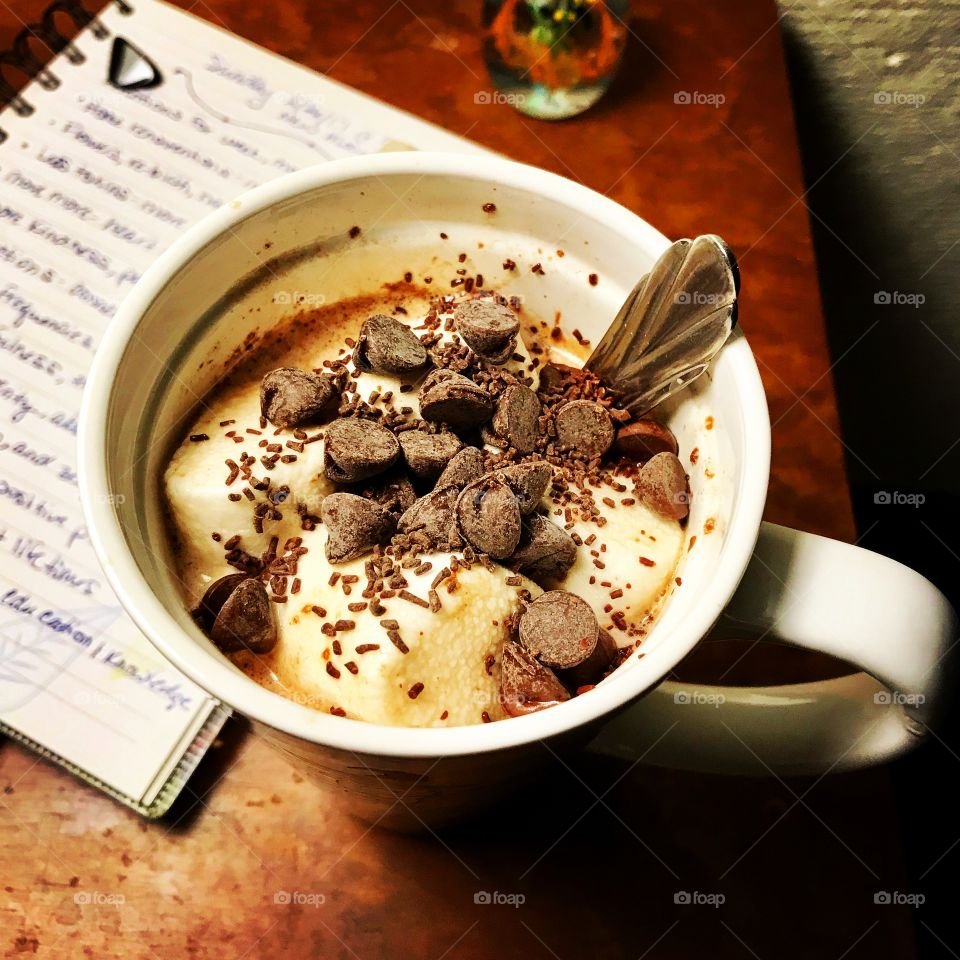 Homemade hot chocolate and a journal