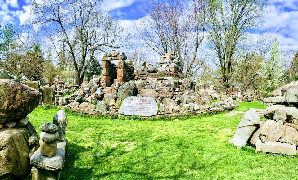 Temple of tolerance in Ohio rock garden in spring