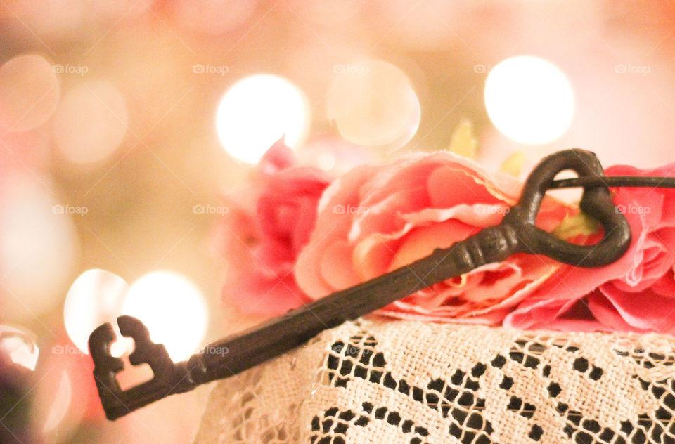 key heart flowers pink lace