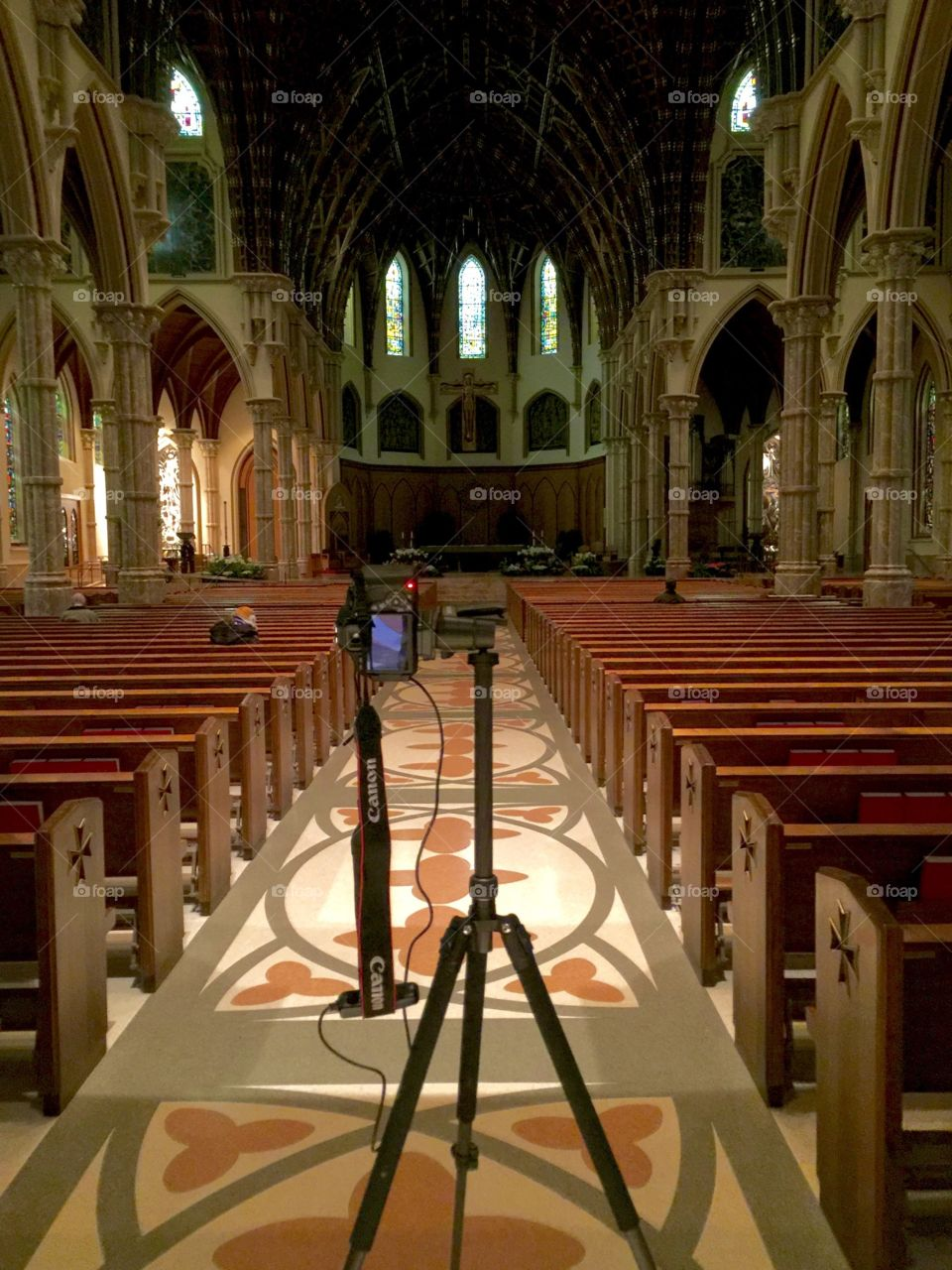 My camera capturing a long exposure if the dimly lit church.