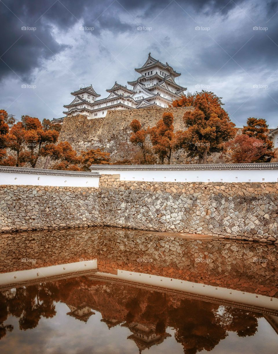 Himeji castle, japan in the fall