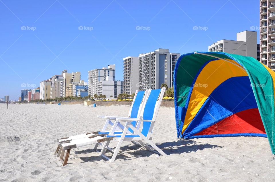 Beach. A beautiful sunny day in Myrtle Beach South Carolina.