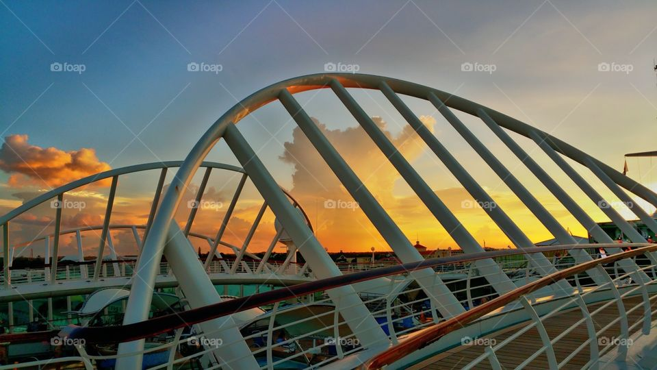Sunset over Nassau Bahamas..View is from deck ten on Royal Caribbean enchantment of the seas