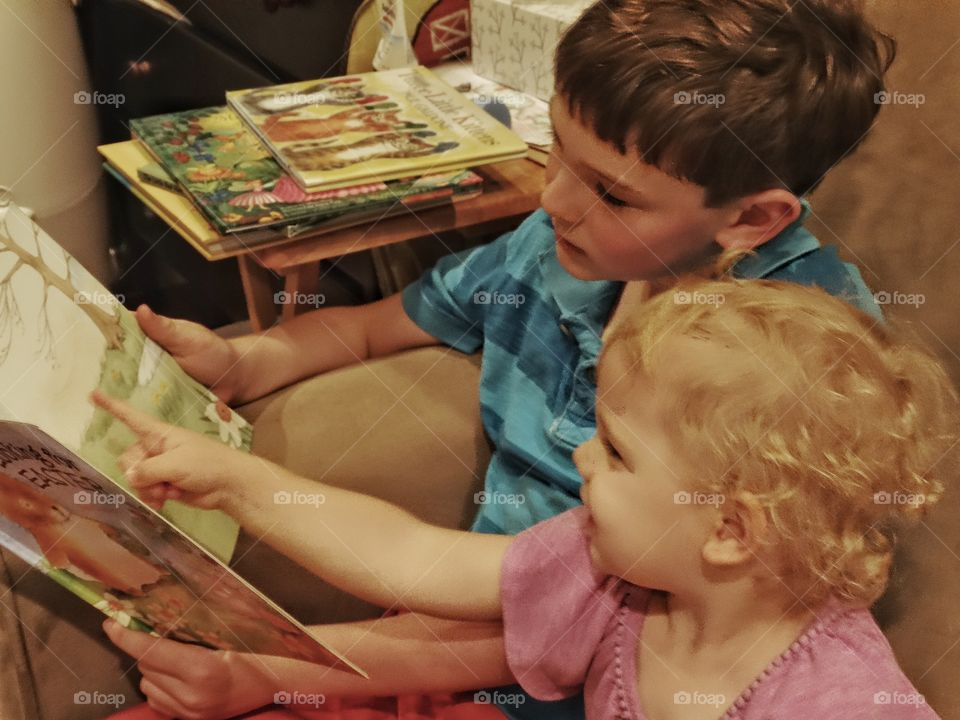 Big Brother With Little Sister. Young Boy Reading A Book To A Toddler Girl