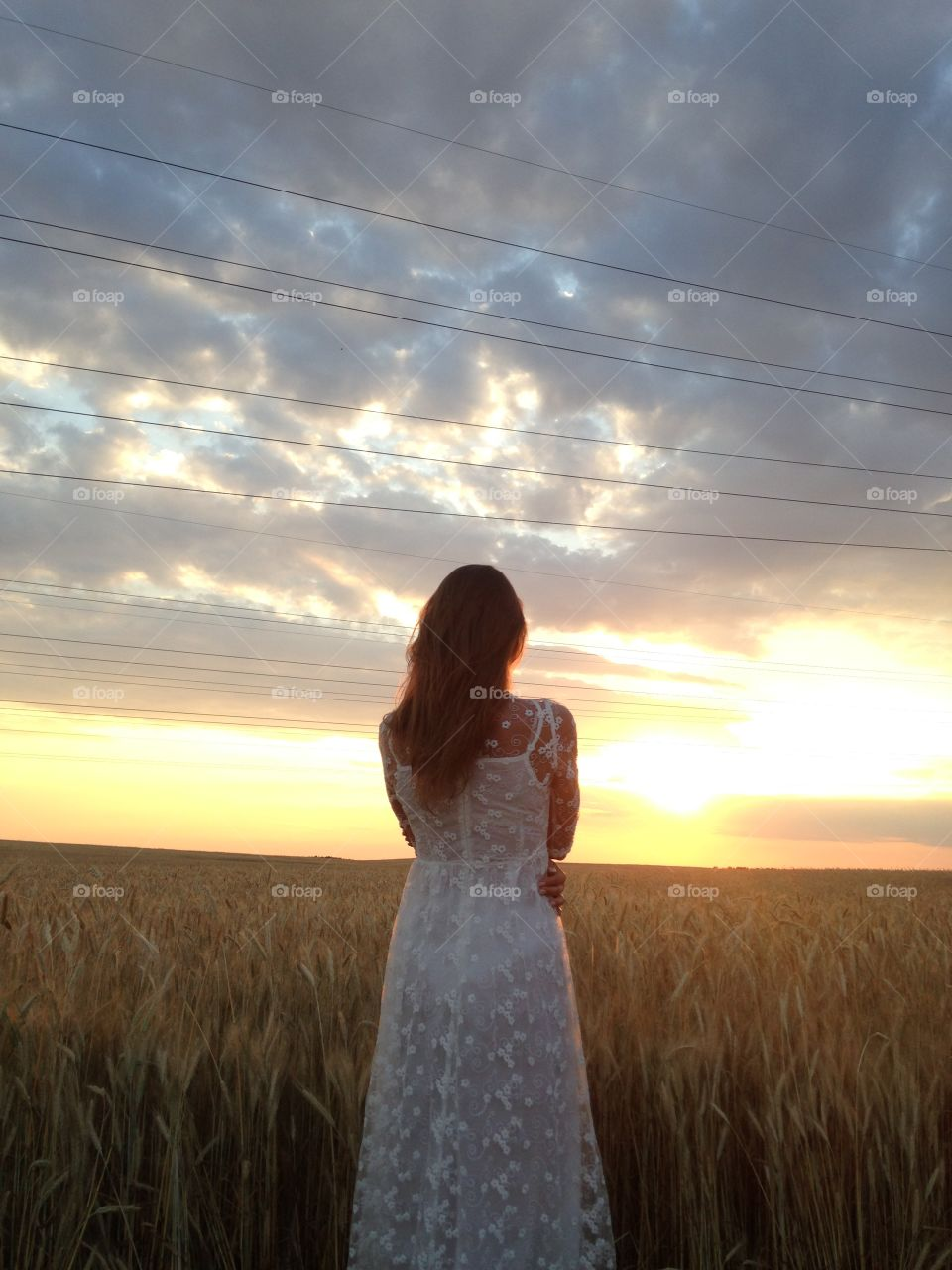 Woman looking sunset in the fields