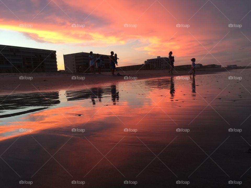 beach silhouette and beautiful scenery