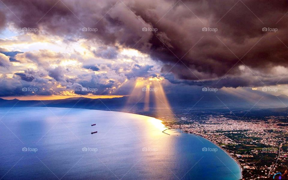 Aerial view of a sea during sunset
