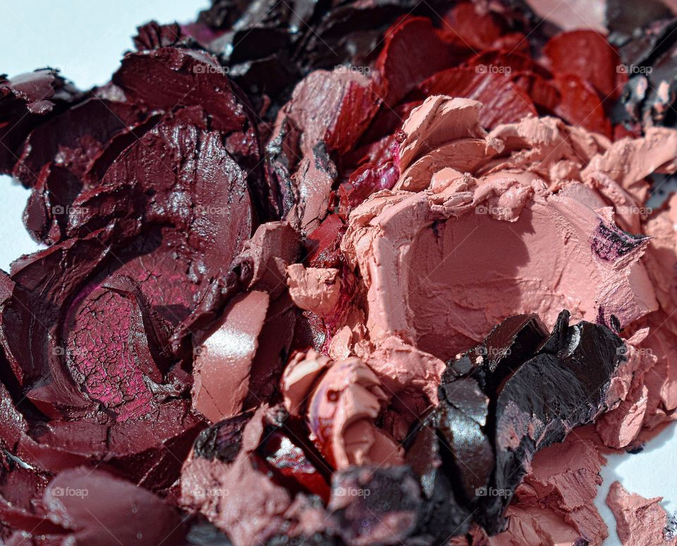 Bunch of smashed lipstick