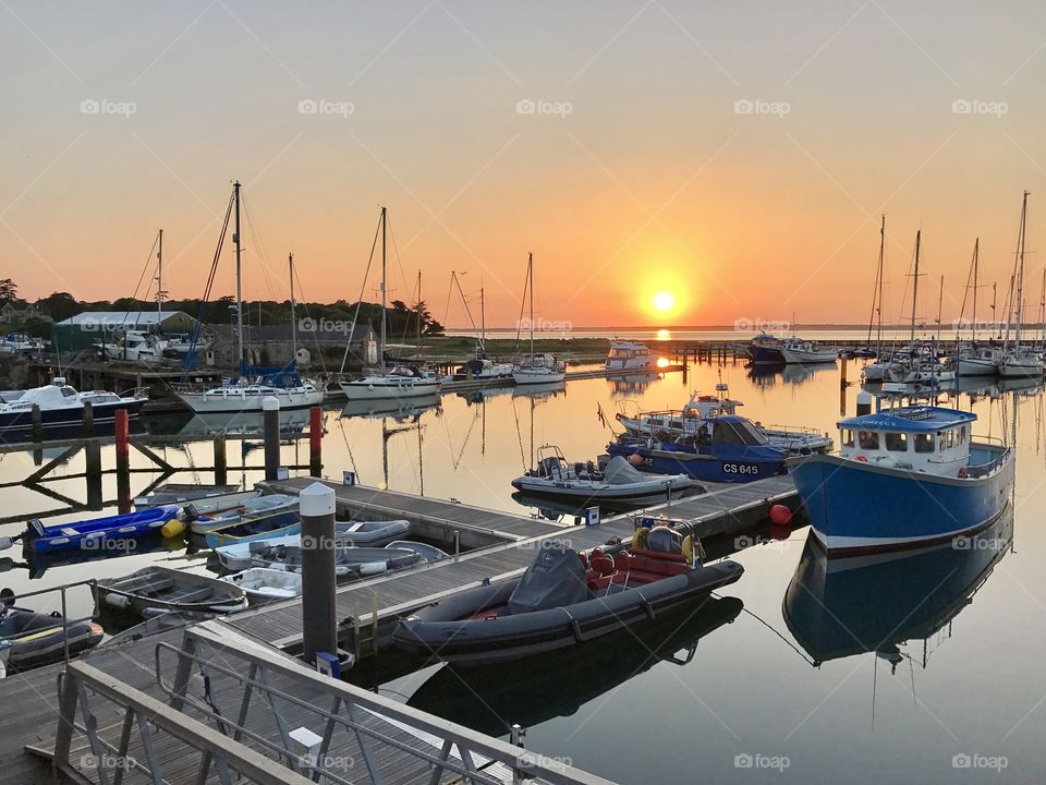 The sun setting over Yarmouth harbour,  Isle of Wight.