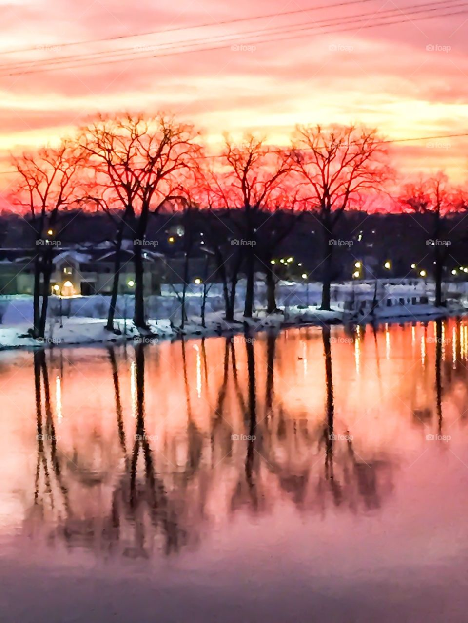 Sun Setting on Winter Wonderland Riverscape