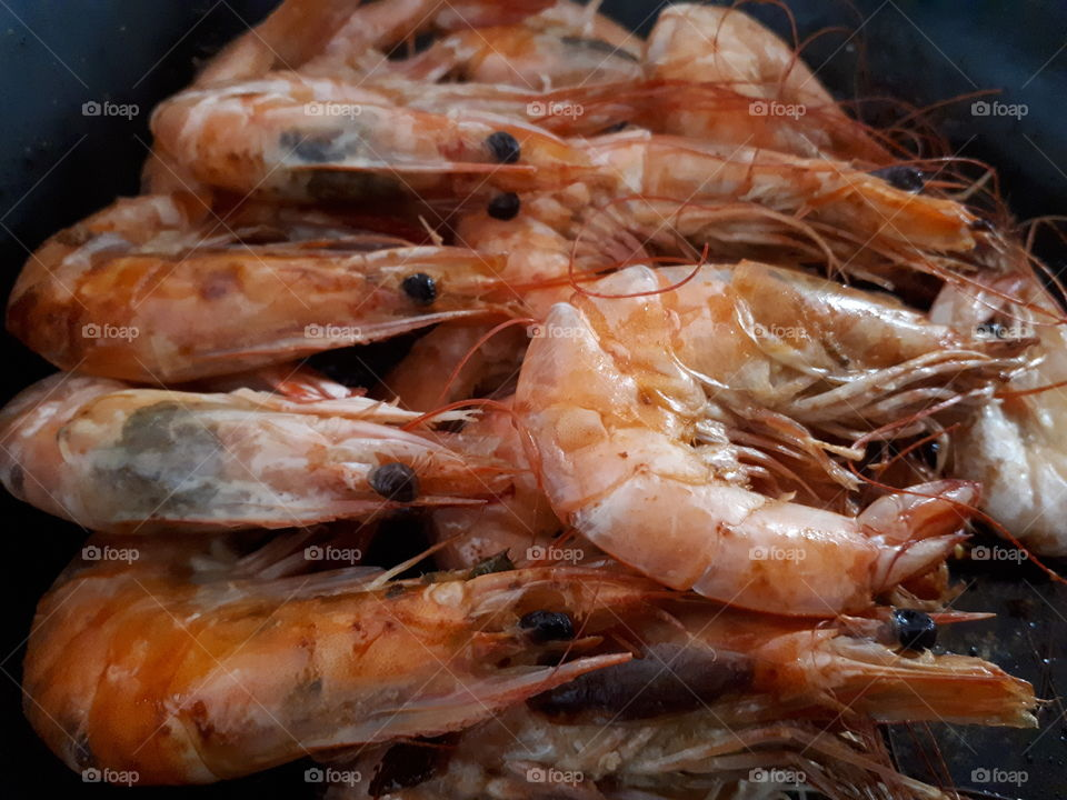 Delicious seafood,steamed prawn close up