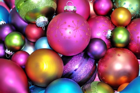 Colorful collection of Christmas ornaments.