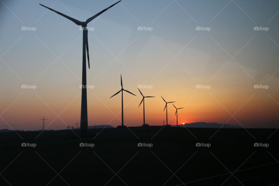 Aero Mills Energy at Sunset. Non stopping energy