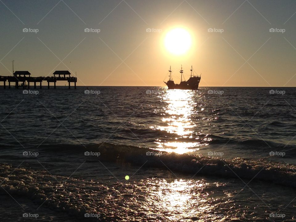 Sunset and pirate ship