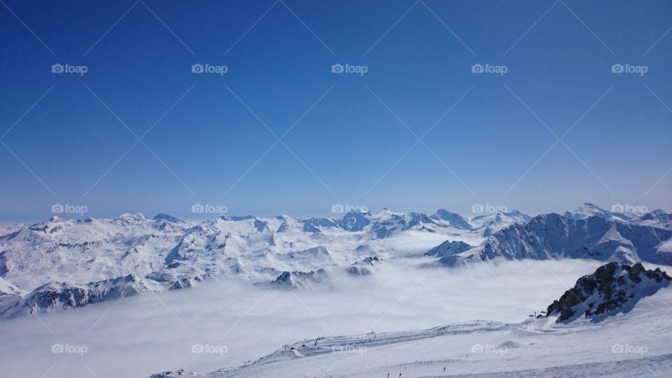 Grande Motte . Photo was made on the top of Grande Motte Glacier in France 3456 m