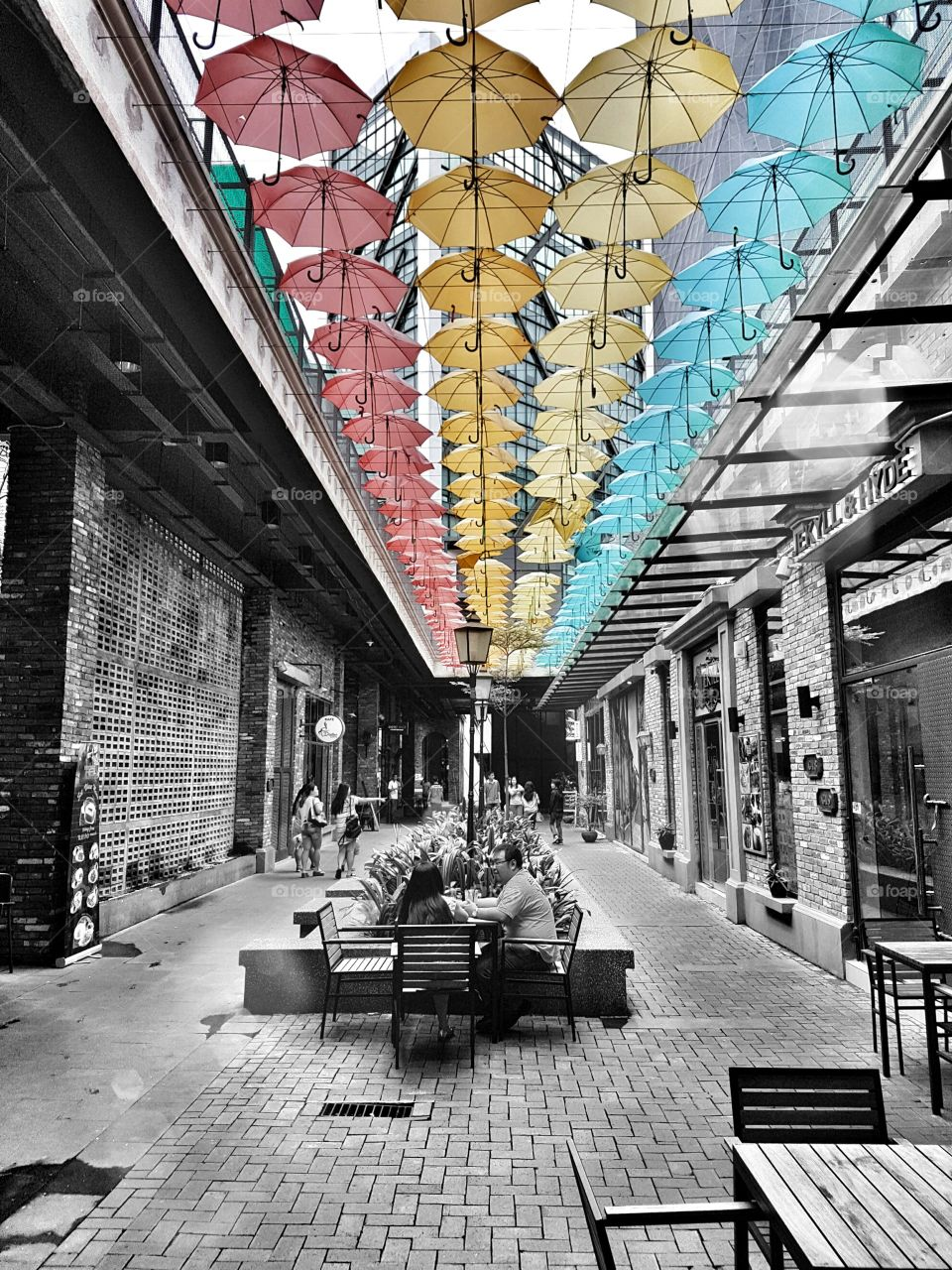 Street decorated with colorful umbrella