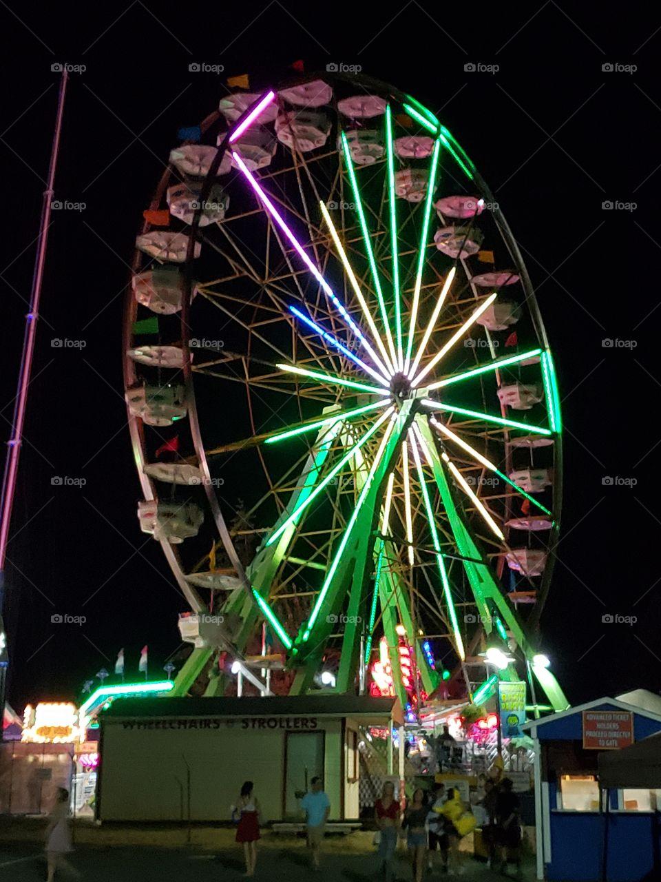 Festival ferris wheel at night