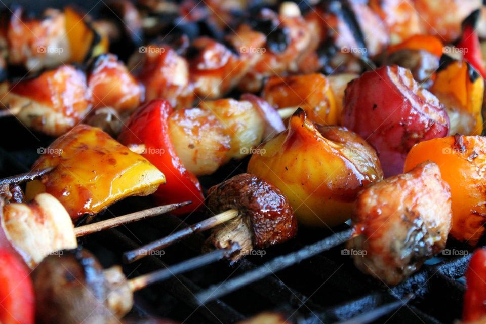 Close-up of kebab on the grill