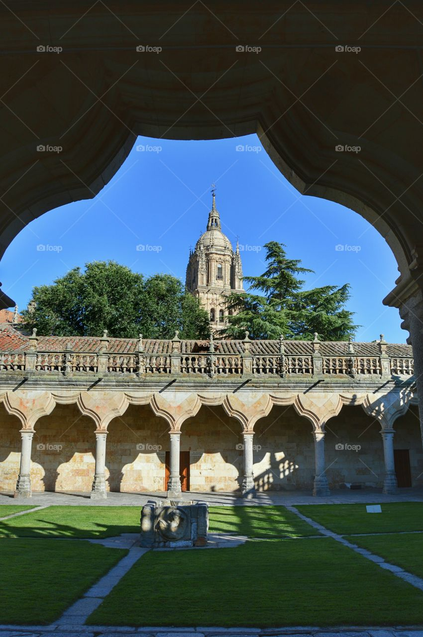 Cathedral tower. View of the tower of Salamanca cathedral from the cloister of University of Salamanca.