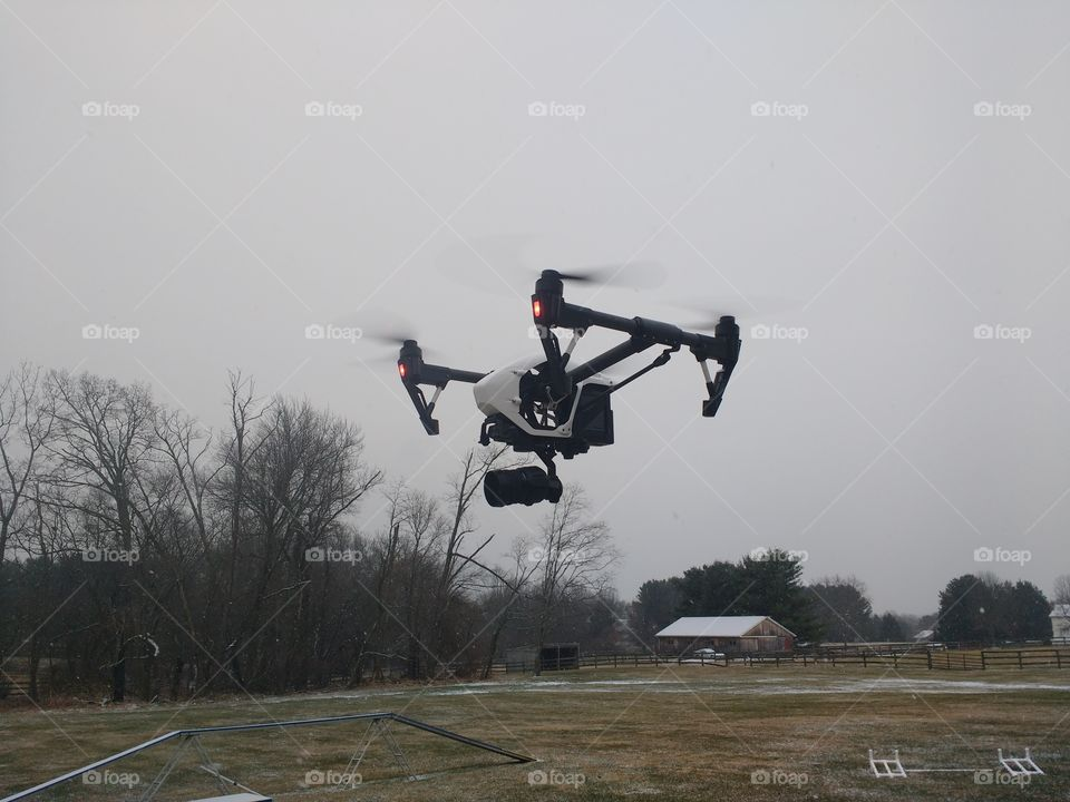 Inspire 1 Pro hovering in the snow