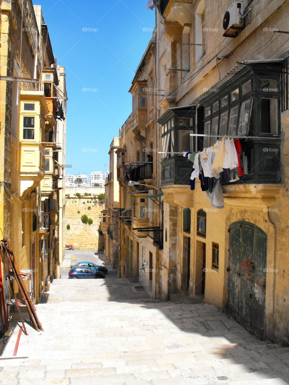 Drying laundry on the streets of Valletta,  Malta