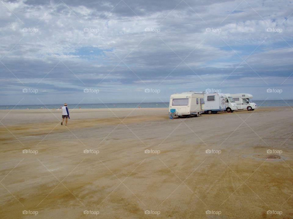 Motorhomes. Caravan and Motorhomes on beach