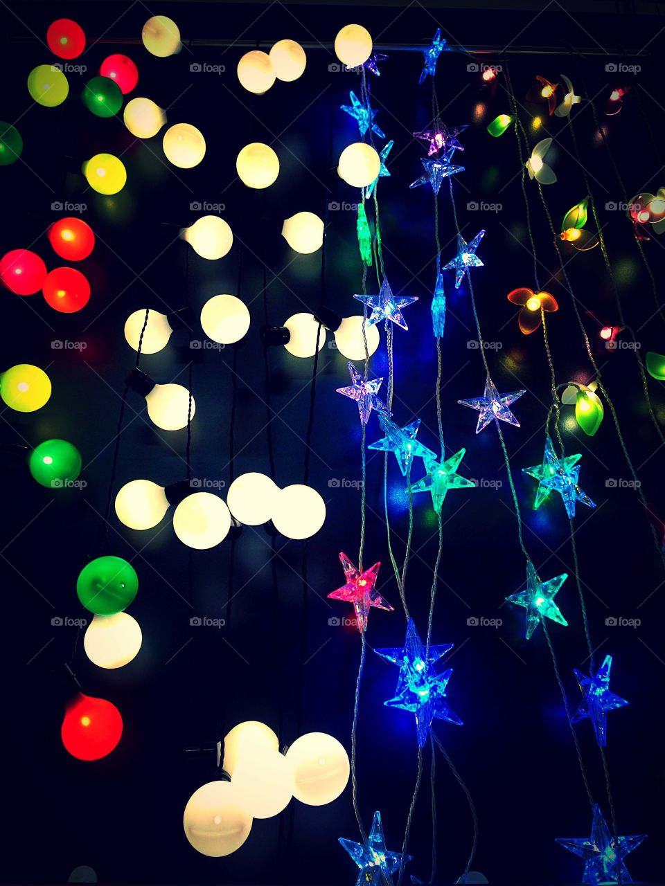A mix of different colourful party celebration lighting