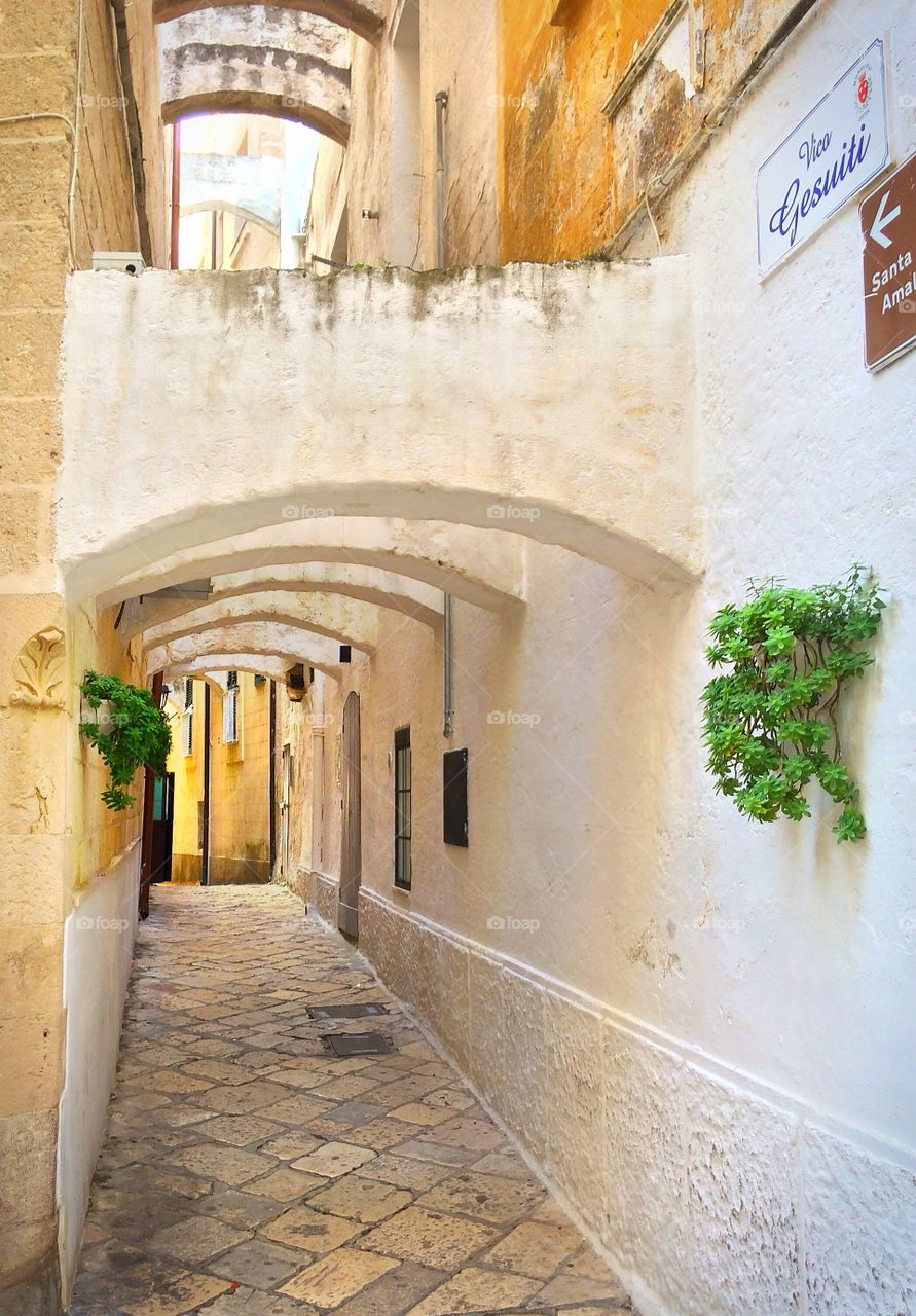 Alleyway in old town of Monopoli, Italy
