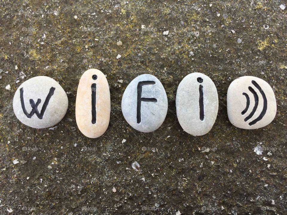 WiFi concept on stones