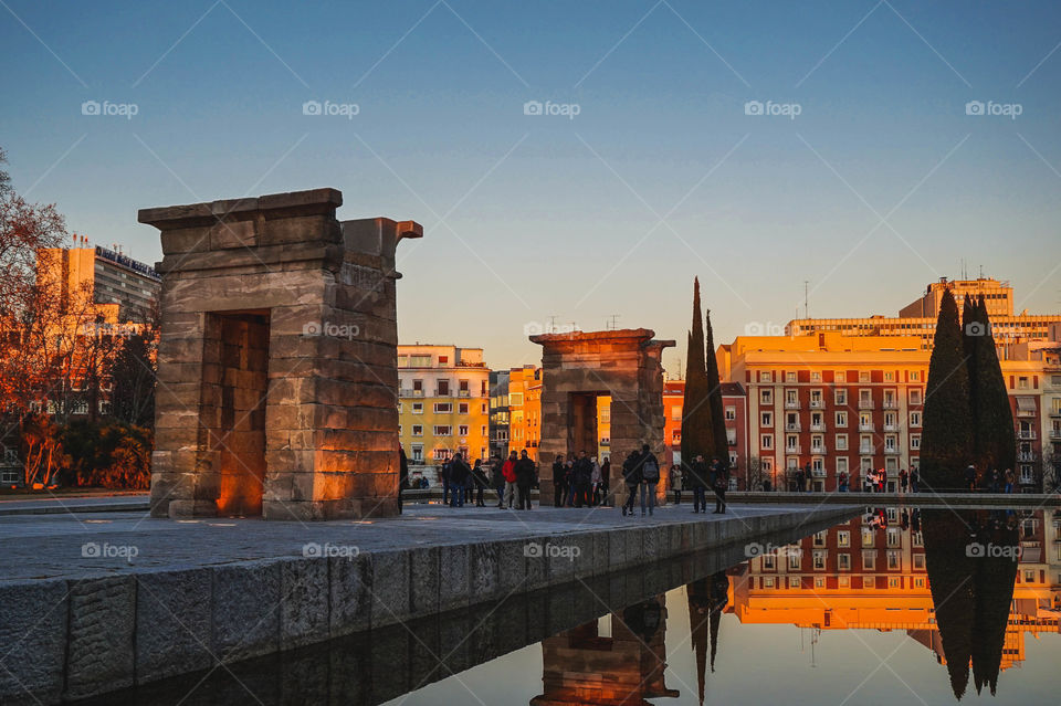 Dusk at the Temple of Debod (Templo de Debod) in Madrid, Spain. An Egyptian temple that was gifted and relocated.