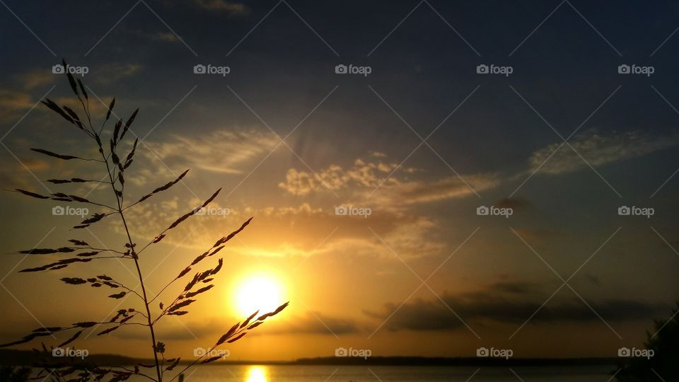 lakeview sunrise. the sun rising over lake belton in central texas