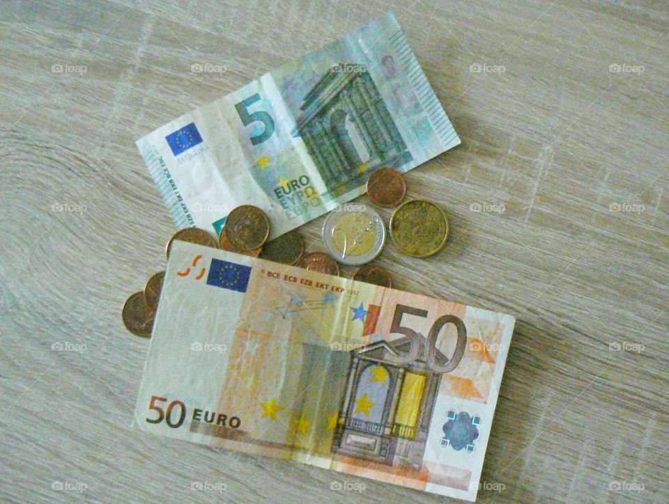Euro money coins and banknotes