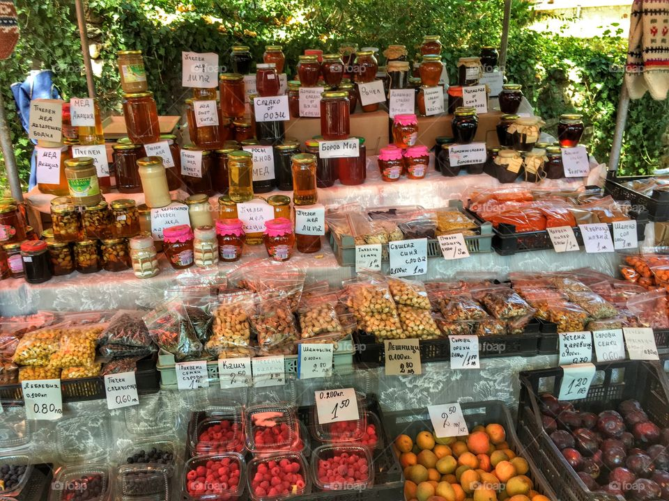 Organic market products in small local Bulgarian market