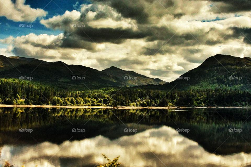 landscape mountain scotland symmetry by olijohnson