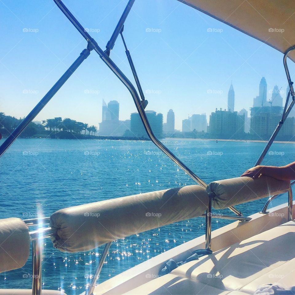 Boat trip around The Palm in Jumeirah Beach, Dubai☀️🌊