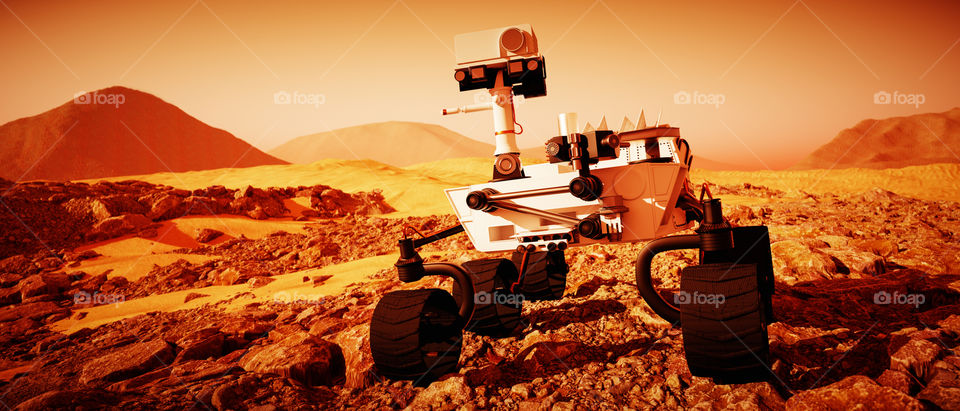 a Mars Rover exploring the red planet