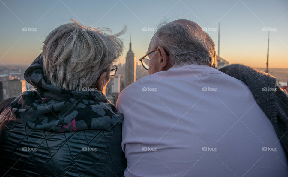 I was up at the iconic Top of the Rock in NYC when I stumbled upon this happy duo. Laughing and enjoying the sunset, I could feel they still had a beautiful connection to each other after many years of happiness.