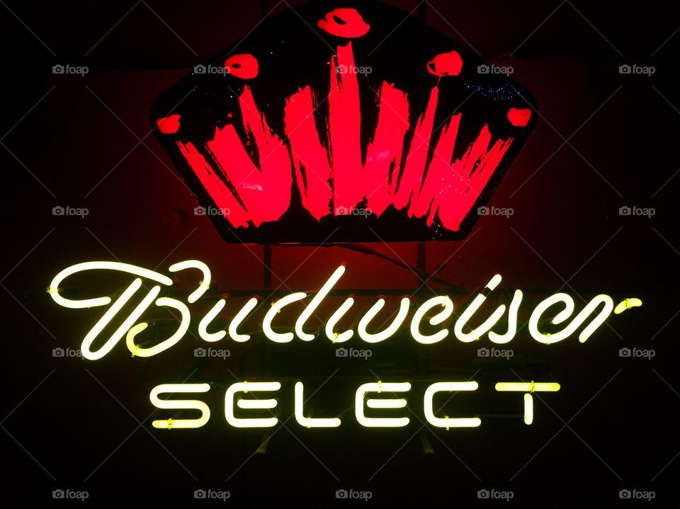 Budweiser neon beer sign.