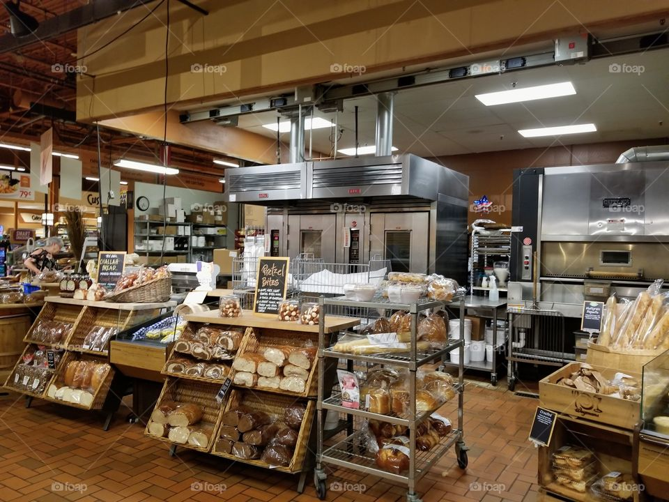 Baked goods section in the grocery store