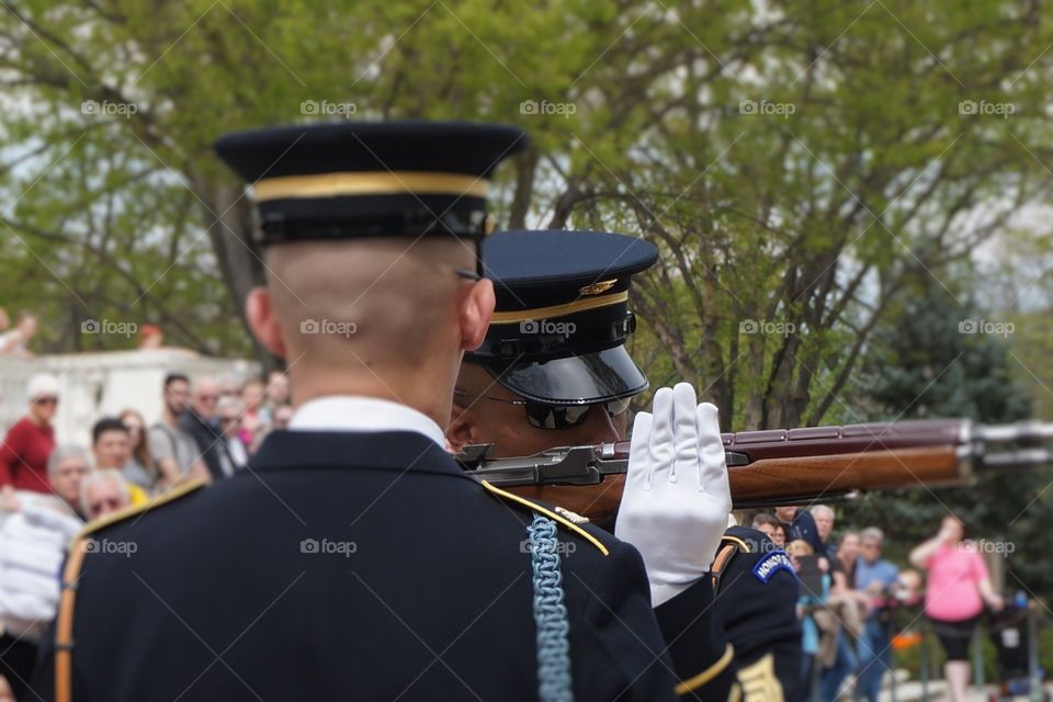 Close up Changing of the guard inspection at Arlington Cemetery.