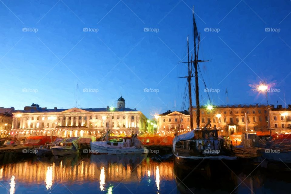 Digital painting of fishing boats and an old sailing boat at the Helsinki Market Square (Kauppatori in Finnish) with market tents on the background during the annual Helsinki Baltic Herring Fair (Silakkamarkkinat in Finnish) on clear early October evening.