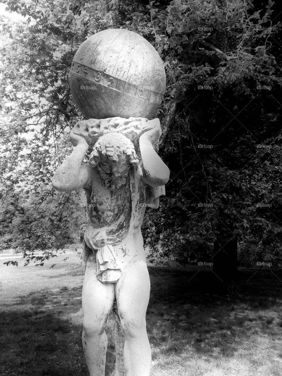 Beginning of Summer at Old Westbury Gardens on Long Island. Mix of Clouds and Sun. BNW Filter. Sculpture Captured on Android Phone - Galaxy S7. May 2017.