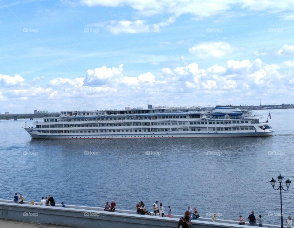 "Saratov Russia, river Volga, cruise ship ""Fedor Dostoevsky"" 12.06.2017"