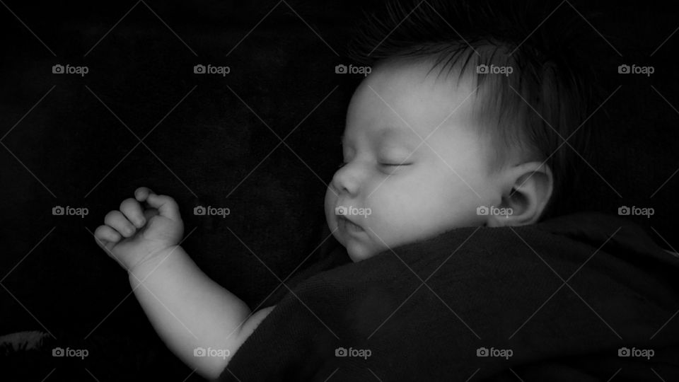Close-up of a sleeping cute baby