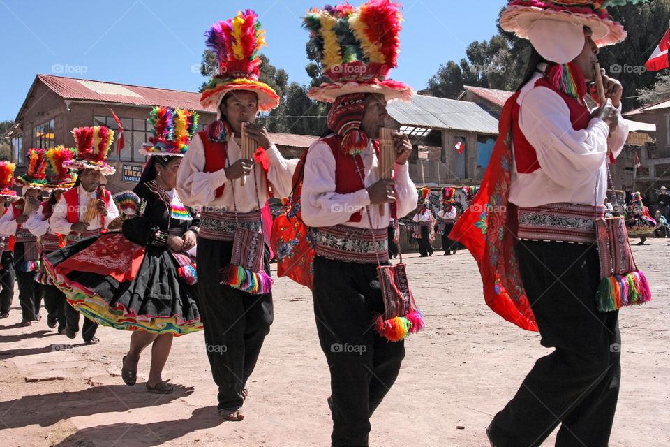 men peru dancers taquile island by jpt4u