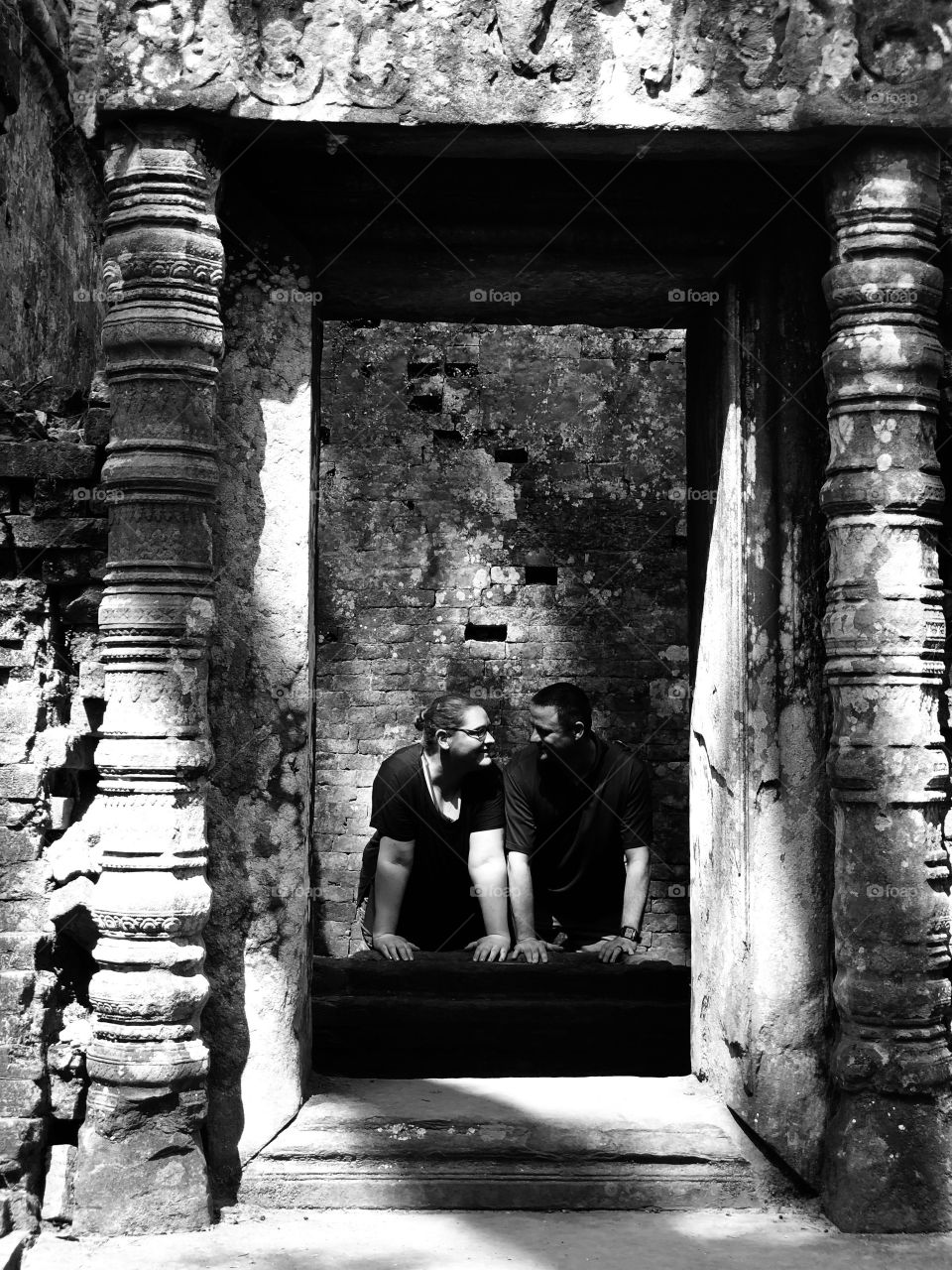 Black and White Photo, Cambodia Column Ruins
