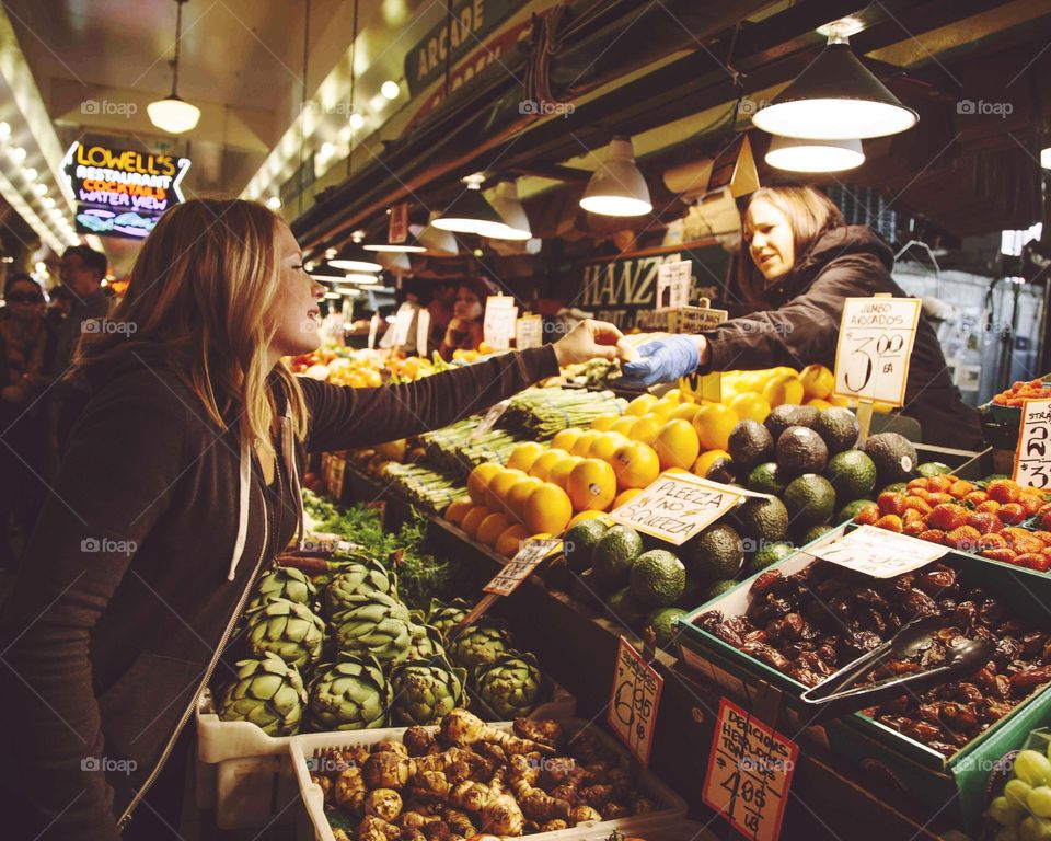 Pike Place Market. Partaking in the fresh produce at Pike Place Market in Seattle Washington