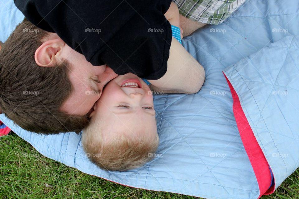 Father/son snuggles